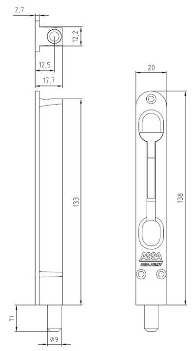 Flush bolt ASSA 8312